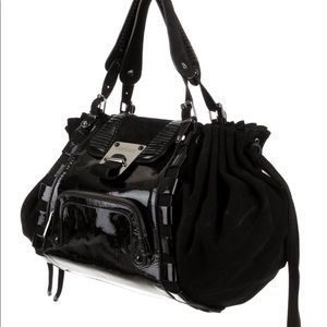 Versace Patent Leather & Suede Tote Bag